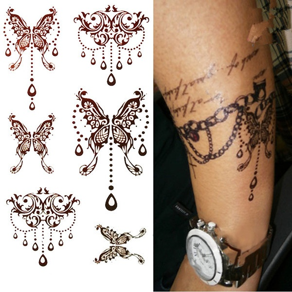 King Horse Brown Henna Butterfly Tattoo Indian Style