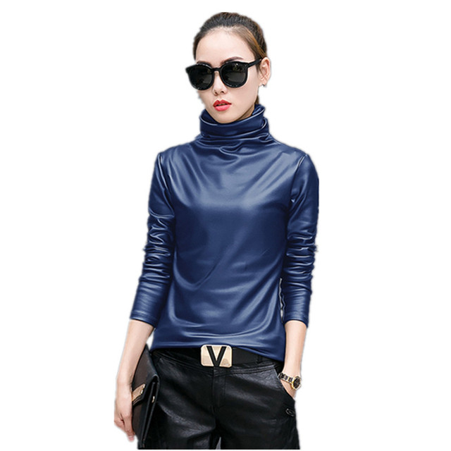79f51514044 Plus Size 4xl T-Shirts Women Harajuku Sexy Long Sleeve Turtleneck Velvet T  Shirt Female Tops American Apparel Pu Leather T Shirt