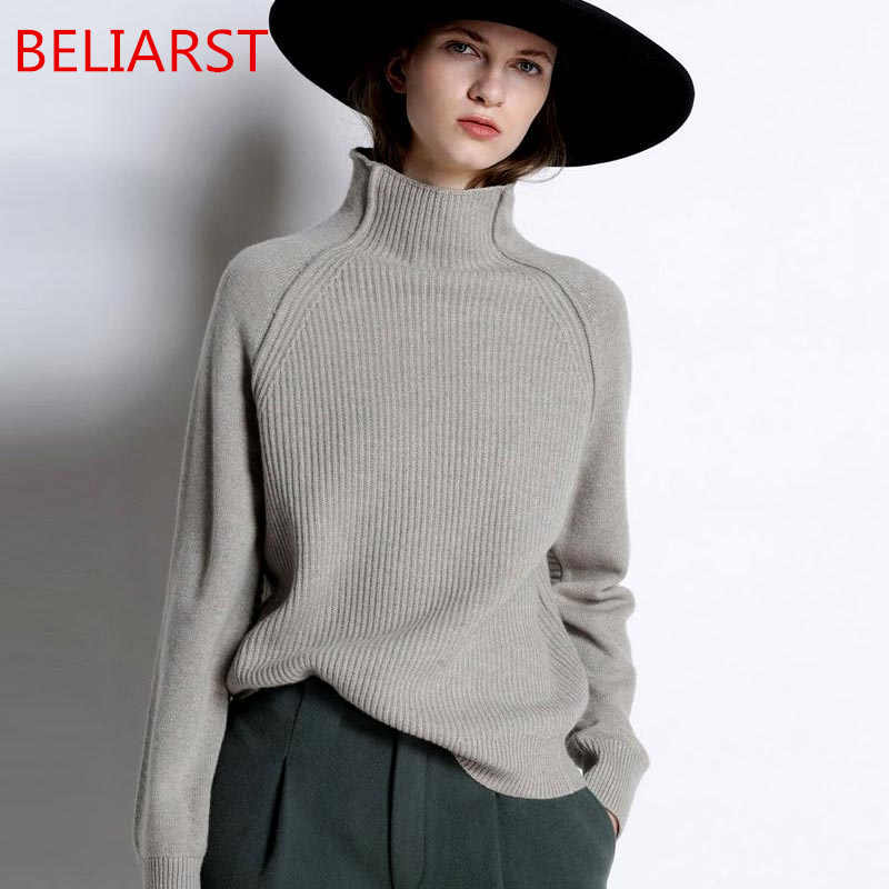 BELIARST New Autumn and Winter Cashmere Sweater Women High-Collar Thickened Pullover Loose Sweater Large Size Knitted Wool Shirt