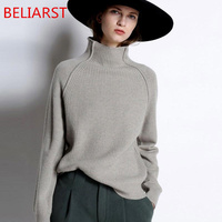 BELIARST New Autumn and Winter Cashmere Sweater Women High Collar Thickened Pullover Loose Sweater Large Size Knitted Wool Shirt