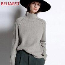 Новинка, Осень зима, кашемировый свитер BELIARST, Женский утепленный пуловер с высоким воротником, свободный свитер, вязаная шерстяная рубашка большого размера
