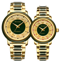 New hot Couple Watch Business Men's watches Jade Women clock jade creative mechanical hollow diamond collection Female watches