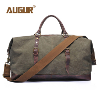 Augur 2019 New Canvas Leather Men Travel Bags Carry On Luggage Bags Men Duffel Bags Handbag Casual Tote Bag Male Sac A Main