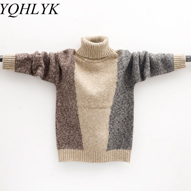 New Fashion Autumn Winter Boy Sweaters 2018 Korean Children High Neck Casual Knit Sweater High-end Handsome Kids Clothes W173 cowl neck knit blends drawstring sweater