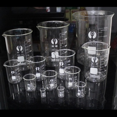 10pcs/set 5ml 10ml 25ml 50ml 100ml 150ml 200ml 250ml 300ml 500ml Glass Beaker Graduated Transparent Borosilicate Glass Beaker 150 50 25