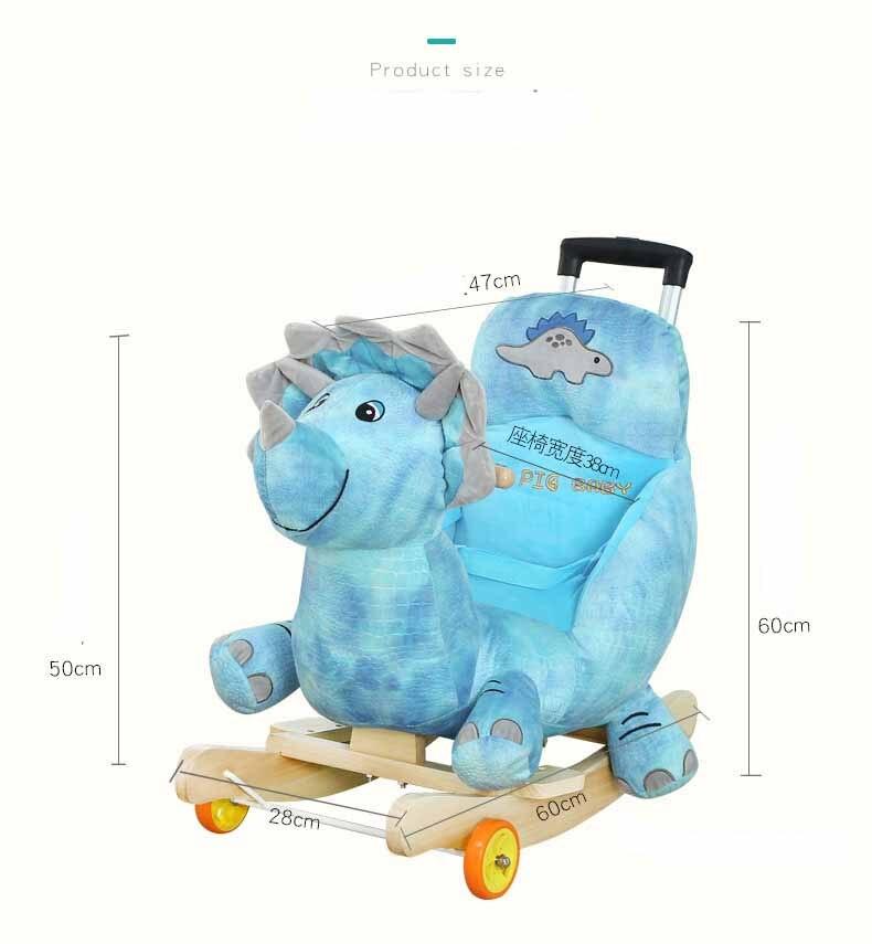 Bébé poussette en peluche cheval jouet Rock chaise bébé videur bébé balançoire siège extérieur fille pare-chocs enfant Ride On jouet à bascule poussette jouet - 3