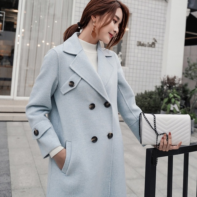 JECH 2018 printemps et automne mode femmes 100% laine cachemire manteau col en v hiver chaud petit MiG cachemire laine femmes manteau