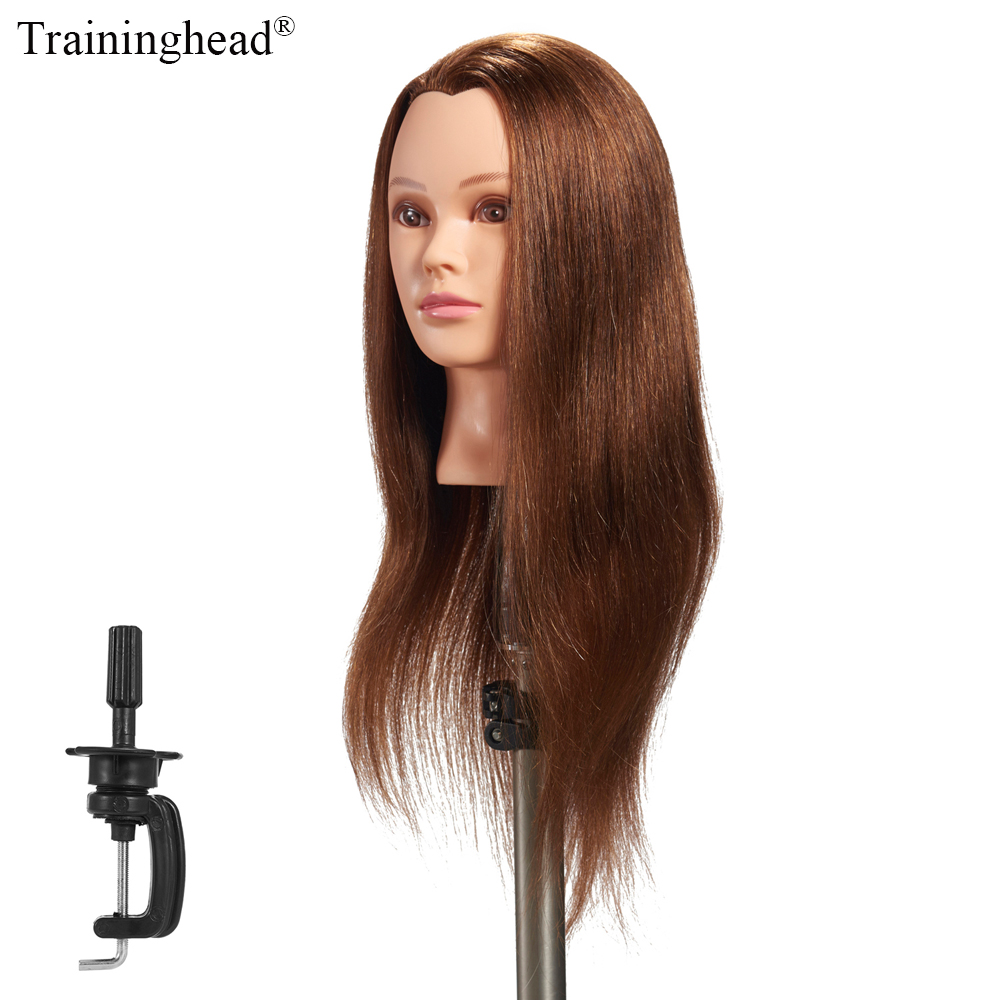 Traininghead 24-26 100% Human Hair Mannequin Head Hairdresser Training Head Manikin Cosmetology Doll Head Wig With Free Stand graceful short side bang fluffy natural wavy capless human hair wig for women