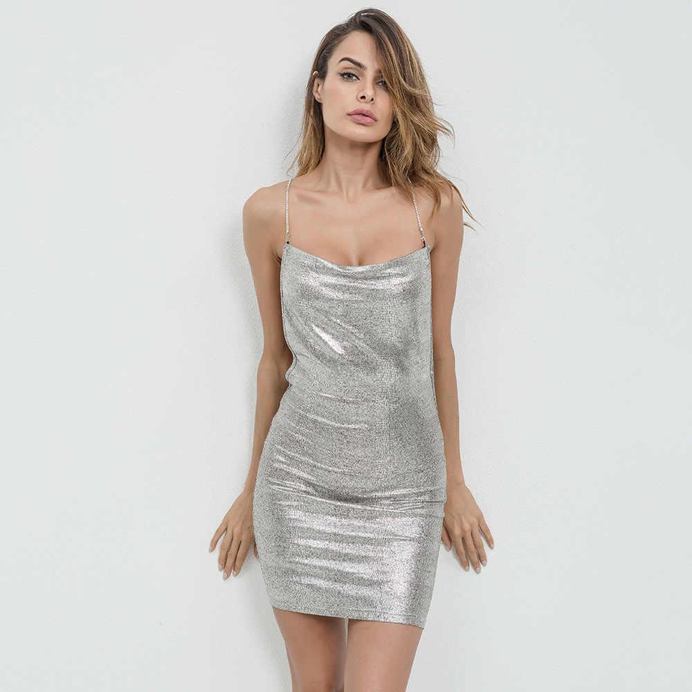 3a4cc941afe32 ... 2018 New Women Sexy Backless Tight Dress Gilding Sling Low Neck Dress  Nightclub Party Short Dress ...
