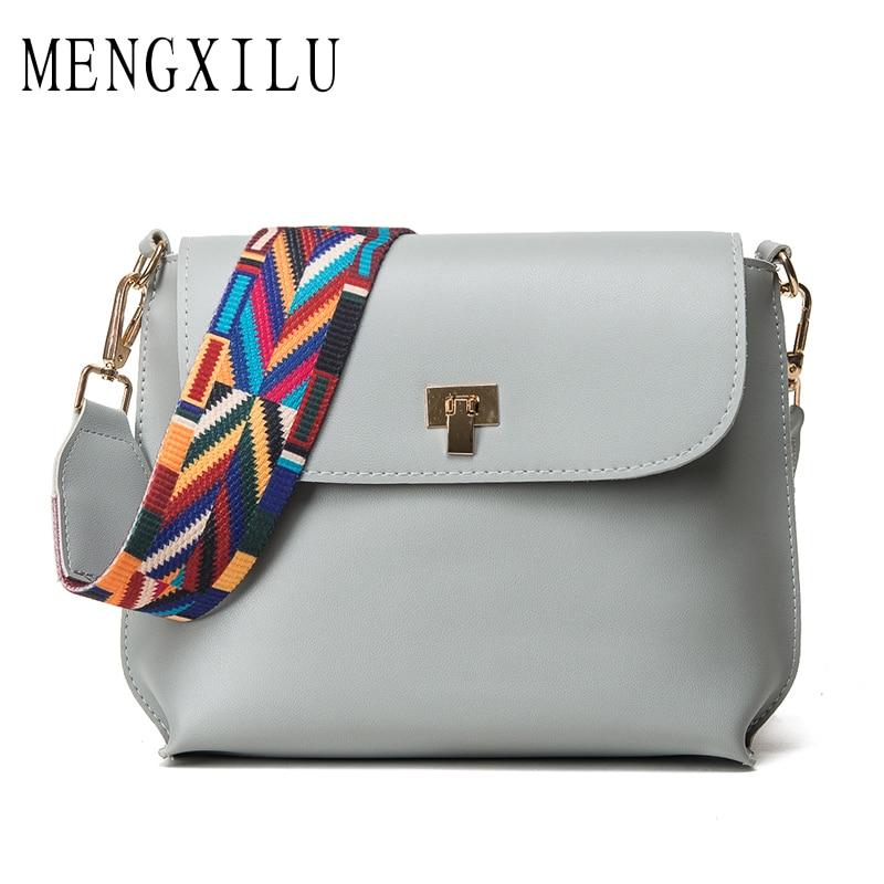 MENGXILU Fashion Small Flap Women Bag Bolsos Mujer Designer Shoulder High Quality PU Leather Lock Crossbody Bags Colorful Strap