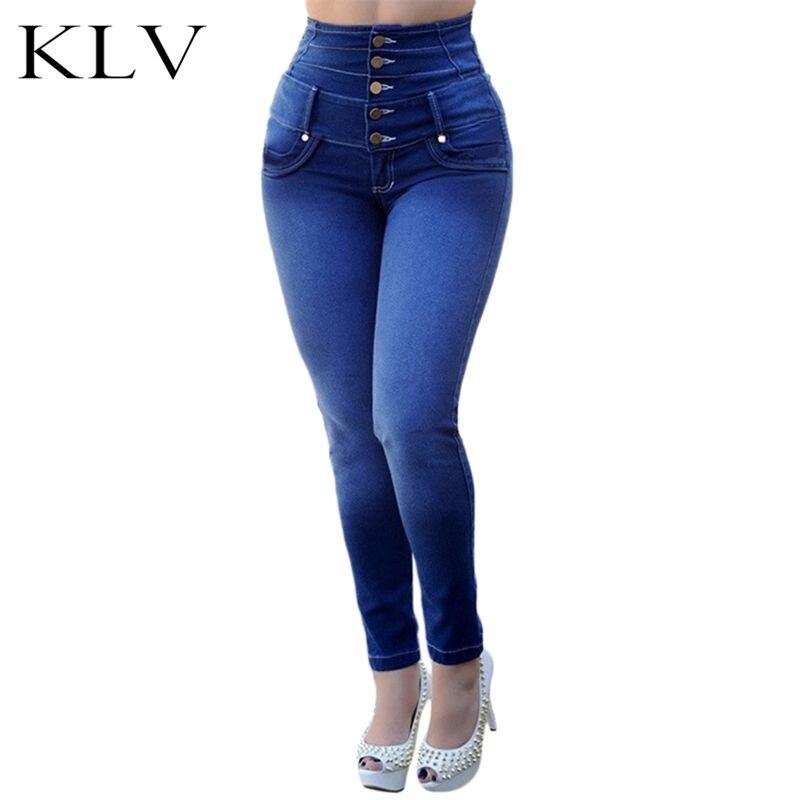 100% Wahr Frauen Super Hohe Taille Einfarbig Dünne Jeans Fünf Tasten Fly Ankle-länge Stretch Lange Hosen Dünne Bleistift Hosen Chinesische Aromen Besitzen