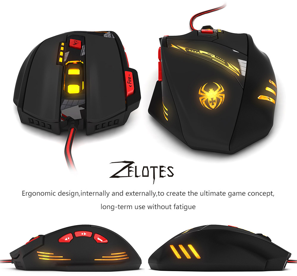 ZELOTES 9200DPI 13 Light Mode 8Keys USB 2.0 Wired Optical Game Mouse for Game Players