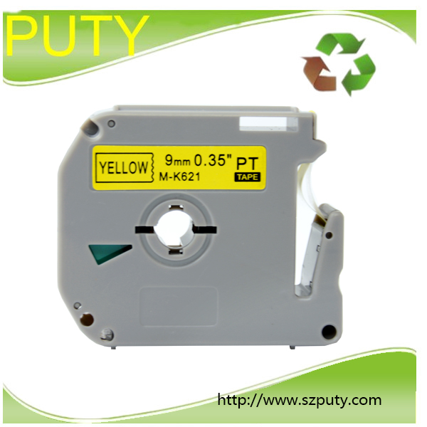 compatible for p touch thermal label printers M tape 9mm black on yellow label tape MK621 M-K 621