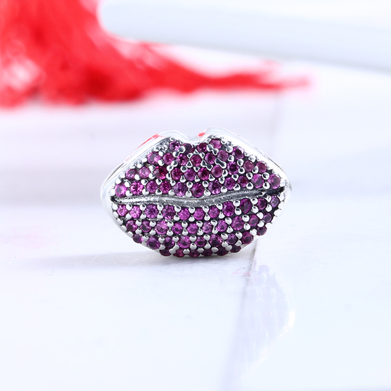 100% 925 Sterling Silver Fit Original Pandora Bracelet Luxury Kiss More Charm Pave Charm Beads for Jewelry Making Gift