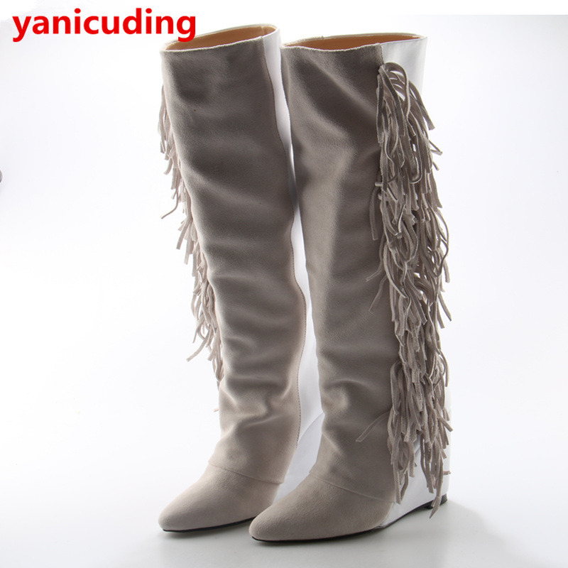 Cool Pointed Toe Women Knee High Boots Tassel Embellished Chaussures Femmes Wedges Shoes Luxury Brand Runway Star Long Booties round toe women boots short booties luxury brand designer super star runway shoes chaussures femmes front lace up shoes flats