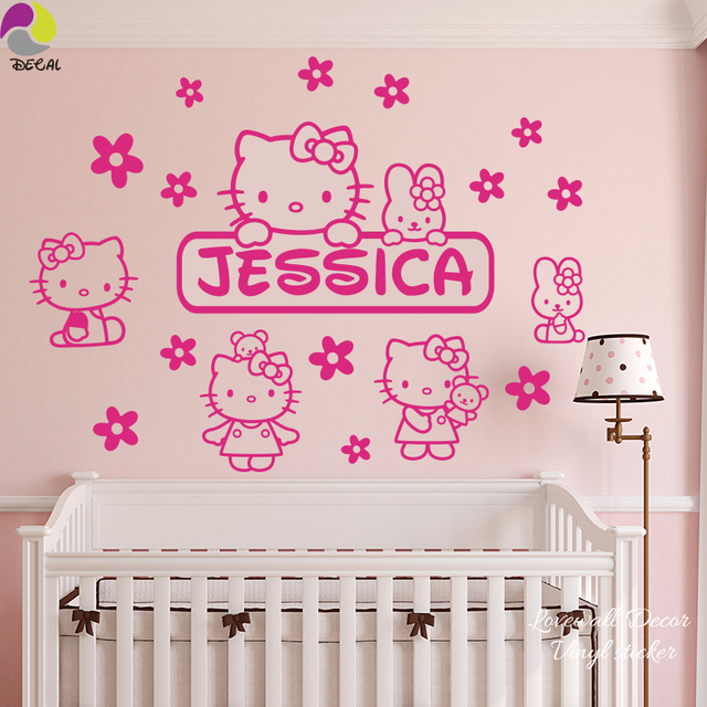 Custom Name Hello Kitty Wall Sticker Baby Nursery Cartoon Cat Anime Animal  Flower Wall Decal Kids