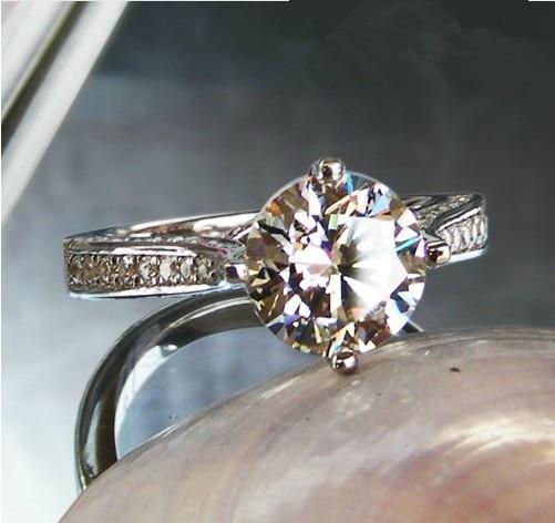 THREEMAN Excellent Solid 14KT белое золото 2 карат, круглая огранка взаимодействие синтетических алмазов кольцо щипцы для женщин ювелирные изделия Роскошное Качество