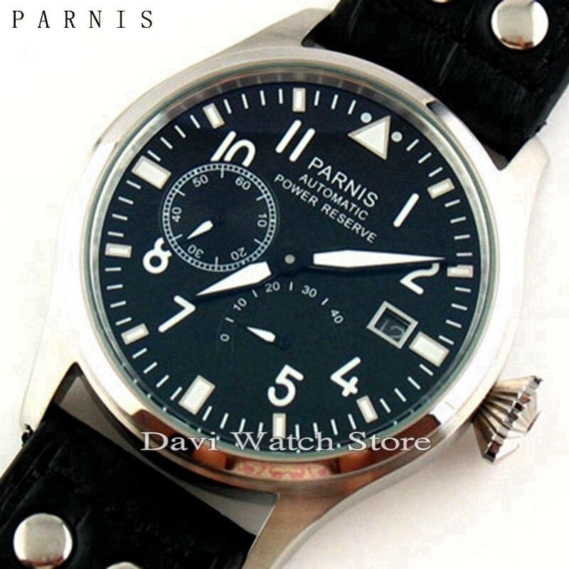 파르 미스 47mm 스테인레스 스틸 케이스 파워 리저브 갈매기 2530 자동식 날짜 빛나는 손 남자 시계-에서기계식 시계부터 시계 의  그룹 1