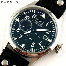 Parnis 47mm stainless steel case Power Reserve Seagull 2530 Automatic Date lumin