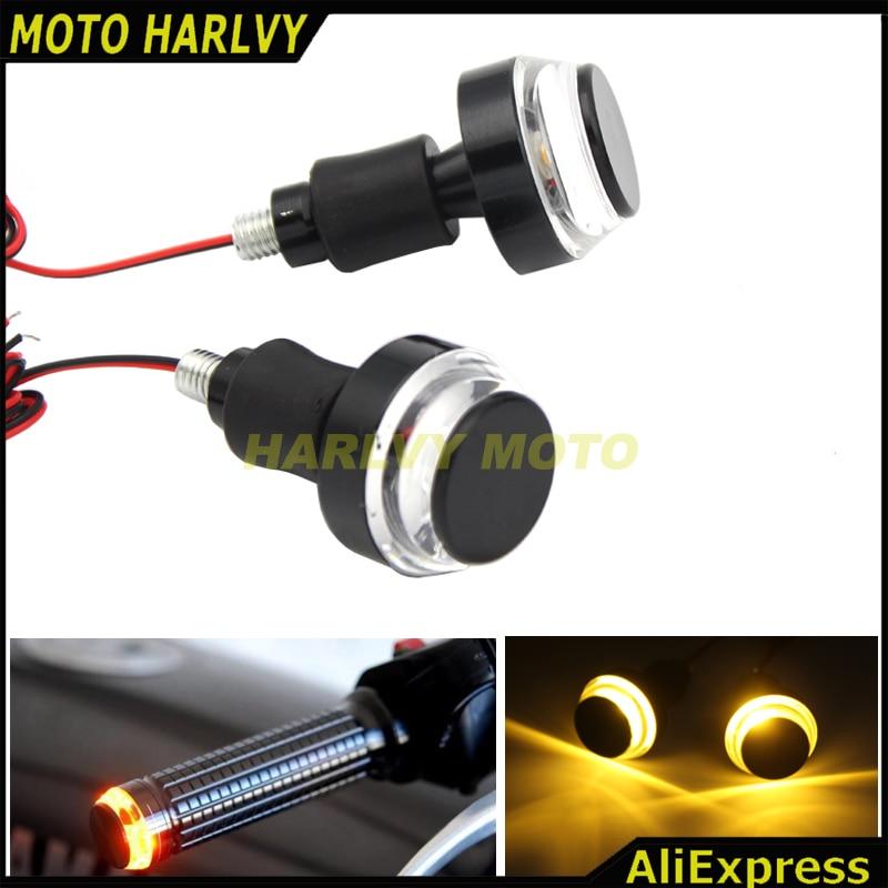 2 PCS CNC Motorcycle Amber LED Handle Bar End Indicator Grip Plug Turn Signal Light FOR 22mm Handlebar