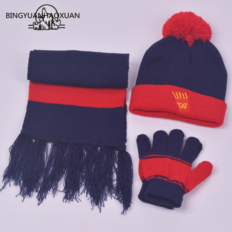 BINGYUANHAOXUAN Spring Autumn Winter Cap Boys Girls Knitted Hat Scarf and Gloves Set Children Knitted Hat Scarf Gloves One simplicity wholesale 2pr set knitted touchscreen gloves