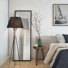 Nordic Black Fabric Lampshade Floor Lamp Light Fixture Metal Trigemin Stand Indoor Lighting H 162CM for Bedroom Living Room