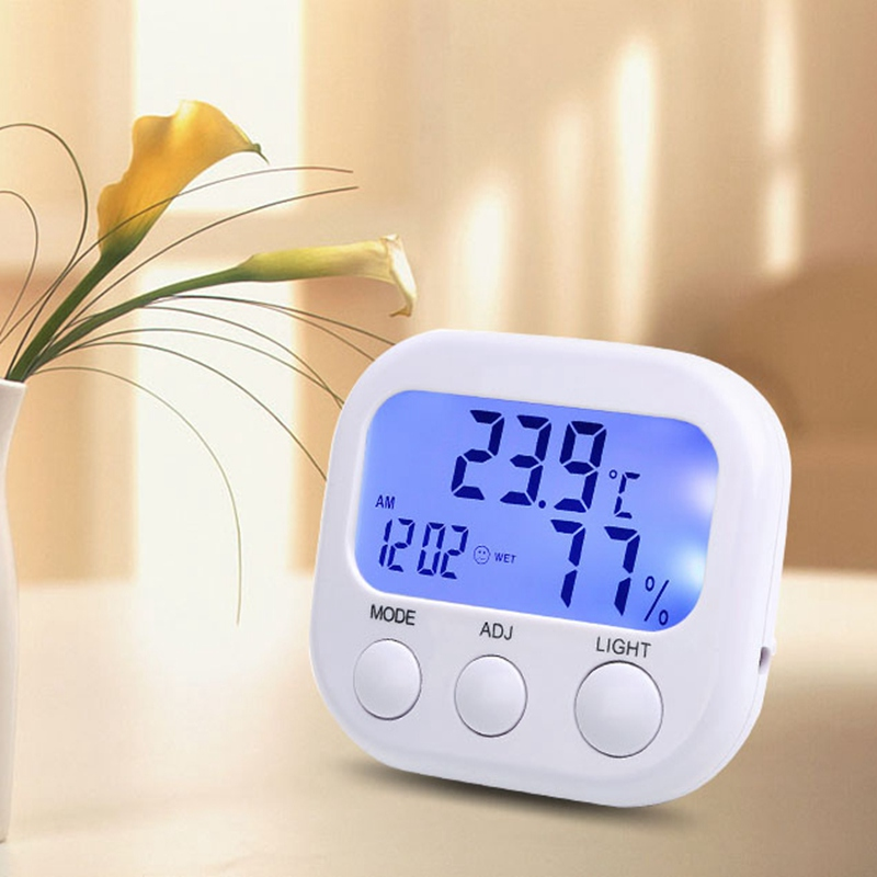 Smart Home Digital Mini Indoor Humidity Temperature Monitor Hygrometer Thermometer Alarm Clock with Backlight digital indoor air quality carbon dioxide meter temperature rh humidity twa stel display 99 points made in taiwan co2 monitor