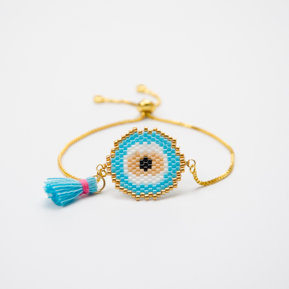 3 Colors Classic Fashion Bohe Charm Bracelet  Simple Tassel  Hand-made Woven Round Evil Eye  Religious Fine Hyperbole Jewelry