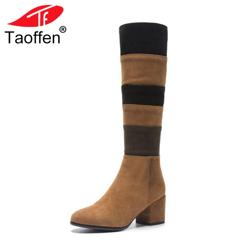 TAOFFEN Size 33-43 Women High Heels Boots Real Leather Woman Shoes Mixed Color Knee Boots Fashion Ladies Winter Warm BootsTAOFFEN Size 33-43 Women High Heels Boots Real Leather Woman Shoes Mixed Color Knee Boots Fashion Ladies Winter Warm Boots