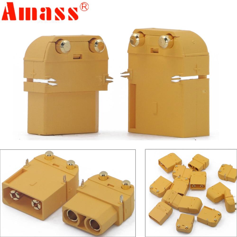 20 Pair Amass XT90PW Plug Horizontal Connector 4 5mm Gold Plated Banana Plug Model Circuit Board
