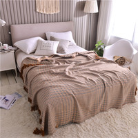 Breathable Ultra Soft Summer Blanket for Bed Sofa Couch Bamboo and Cotton fabric with Tassels Edge Throw Blanket Full Queen size