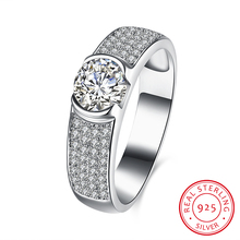 Trendy 925 Sterling Silver Finger Rings for Women Mirco Pave Crystal CZ Zircon Engagement/Wedding Bands Fashion Jewelry SR015