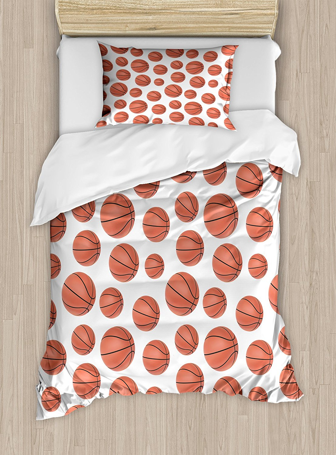 Basketball Duvet Cover Set Realistic Style Pattern On White Clical Sports Themed 4 Piece Bedding In Sets From Home Garden