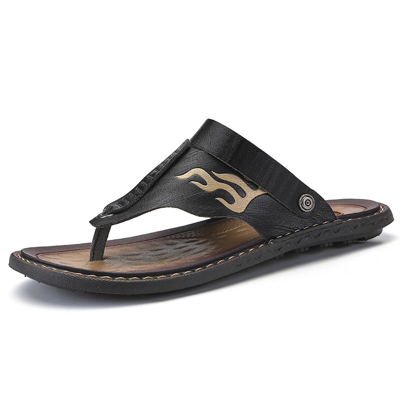 Plus Size 38-47 Man Leather Sandals Men Summer Outdoor Beach Sandals Flip-flops Men's Wear Sandals The Cool Slippers 2019 New