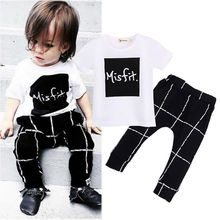 0-24M Newborn Baby Clothes Cute Infant Kid Boys Summer Short Sleeve T Shirt and Pant 2pcs Baby Clothing Set