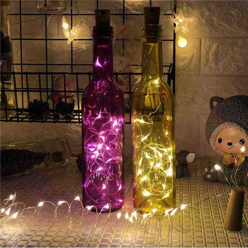 ANBLUB 1M 2M LED string lights Bottle Stopper Fairy Garland For Wedding Christmas New Year Holiday Birthday Party Decoration