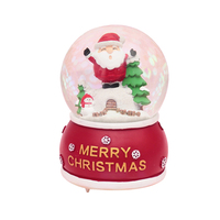 Creative Santa Claus With Light Snowflake Crystal Ball Music Box Resin Crafts Gifts For The New Year Home Decoration Accessories