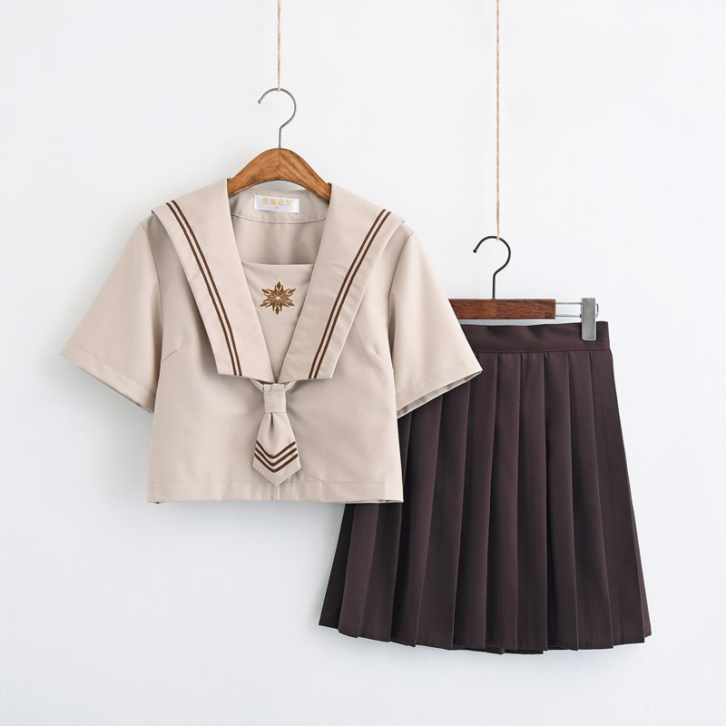 Sweet Girls School Wear Milk Tea Color Shirt Brown Pleated Skirt Sets Japanese Soft Sister School Uniform Lori Sailor Suit