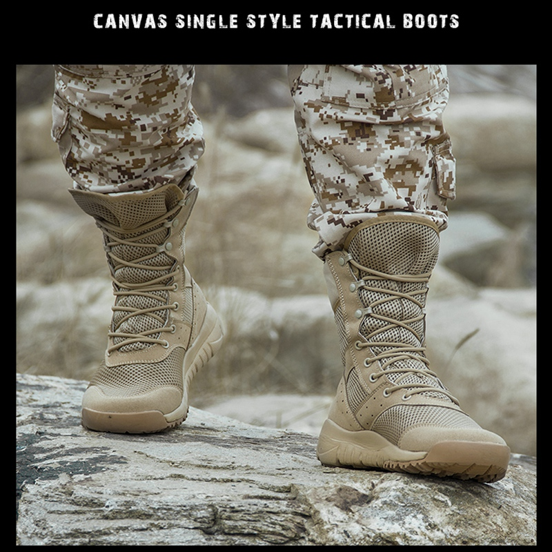 Tactical Boots Men Outdoor Hiking Shoes Canvas Mesh Desert High-top Military Combat Army Boots Militares Sapatos Masculino Plus