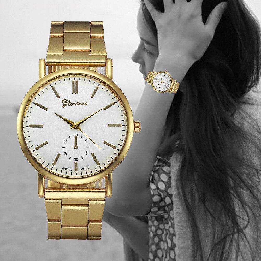 Montre Luxury Watches Women Gold Stainless Steel Analog Quartz Watch Ladies Fashion Geneva Wrist Watch Clock Reloj Relogio #Zer  недорого