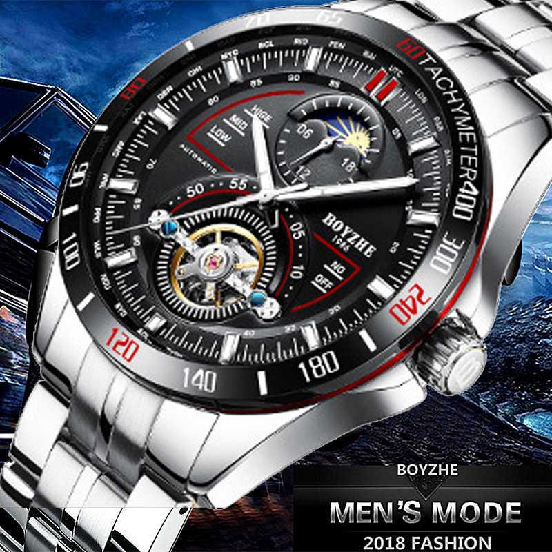 6eb246112a0a ... BOYZHE mecánico automático para hombres de moda marca relojes  Tourbillon Luna fase reloj de acero inoxidable ...