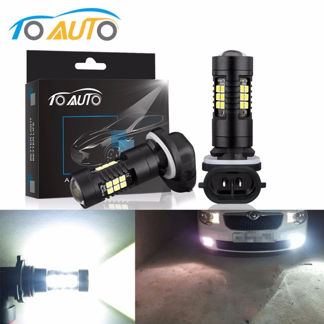 2Pcs H27 Led Bulb 880 881 P13W Led PSX26W Auto Fog Lamp 1200LM Cars Super Bright Running Lamp 6000K 12V 24V