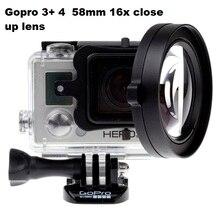 58 мм 16 раз Colse-up HD макро-объектив фильтр адаптер кольцо с чехлом сумка для GoPro HERO 5 4 3 + спортивные камеры