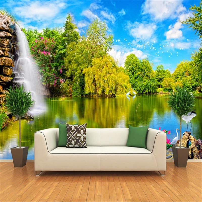 beibehang waterfall pond bird 3d wall murals wallpaper roll papel de parede 3d wall paper custom