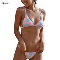Kmnovo 2018 Sexy Swimwear Bandage Bikini Women Animal Print Flamingo Swimsuit Halter Bathing Suit Pants Adjust