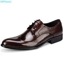 QYFCIOUFU Formal Designers Men Luxury Dress Shoes Genuine Leather High Quality Black Wine Red Fashion Italian Brand Oxford Shoe