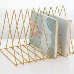 MIRUI Gold Luxury Bookshelf Metal Triangle Iron Art Desktop stationary holder Letter Magazine Rack Holder Office supplies