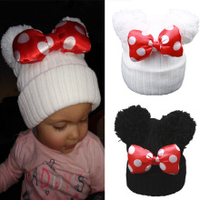 Spring Knitted Warm Beanie Kids Cute Dot Big Bowknot Hat Girls Cartoon Double Pompom Winter Cap Hat cheap Skullies Beanies Casual Wool Acrylic 1575Z Children FAITOLAGI bonnet enfant pompon winter hats for kids