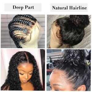 Image 4 - Pré arrancado 13x6 parte profunda frente do laço perucas de cabelo humano encaracolado peruca peruano remy do cabelo peruca frontal do laço para a onda de água das mulheres 130%