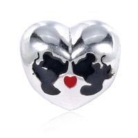 Lovely Cartoon Series Black Enamel Mickey Pattern 925 Real Silver Mickey Heart Charm Fitting European Famous